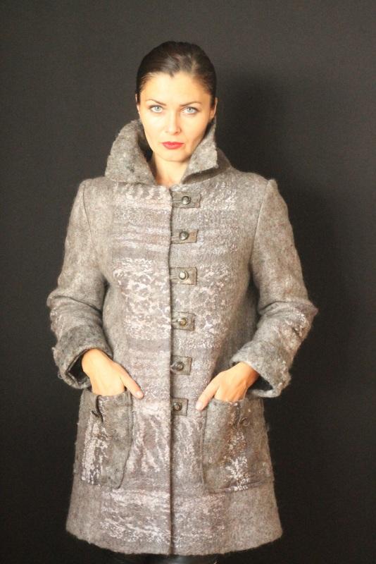 Пальто валяное, ручной работы Серый Высококачественная овечья Кайдрис Галина - фото 1