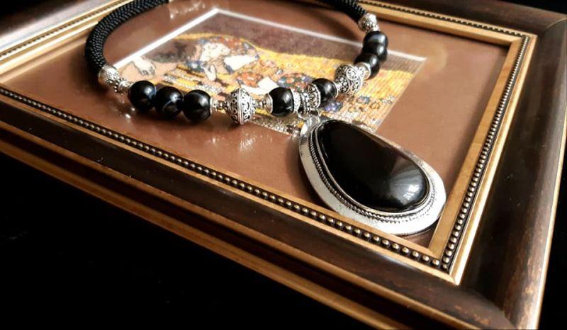 «Альбертина» Черный Колье-чокер из натурально Кираль Ирина - фото 4