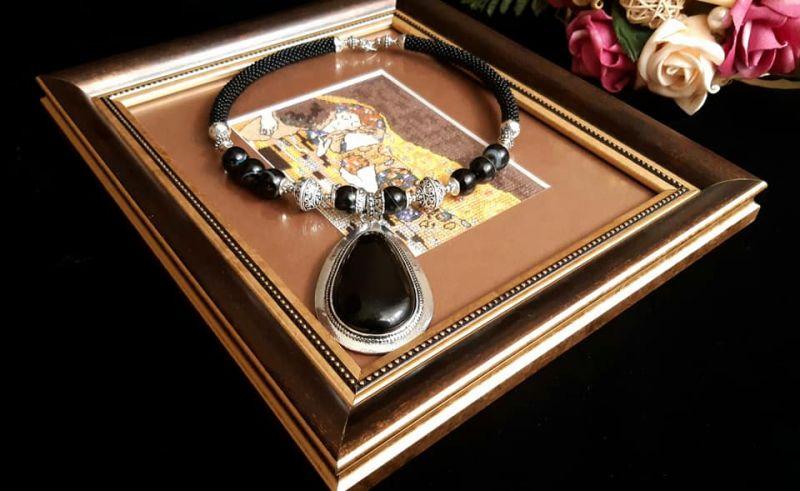 «Альбертина» Черный Колье-чокер из натурально Кираль Ирина - фото 1