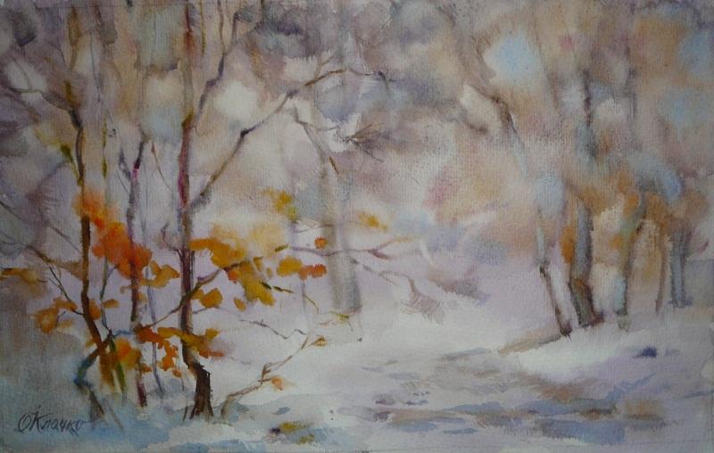 Мгновения зимы  бумага, акварель Клочко Ольга - фото 1