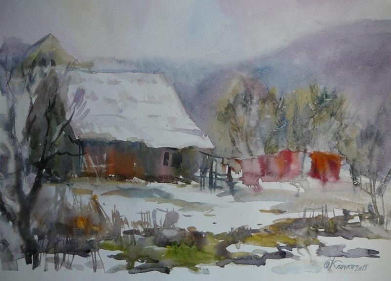 Закарпатская зима  бумага, акварель Клочко Ольга - фото 1