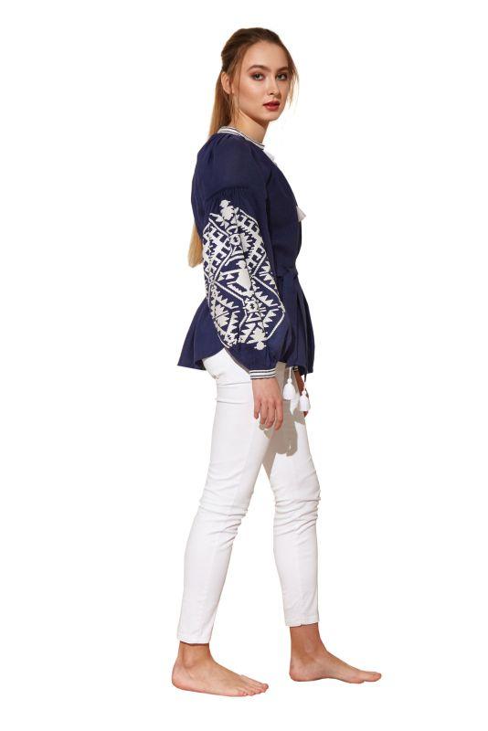 """Блуза вышиванка """"Гармония"""" Синий 100% высококачественный л BAZENA - фото 2"""