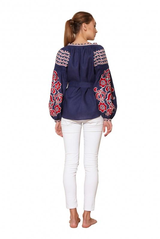 """Блуза вышиванка """"Бажена"""" Синий 100% высококачественный л BAZENA - фото 2"""