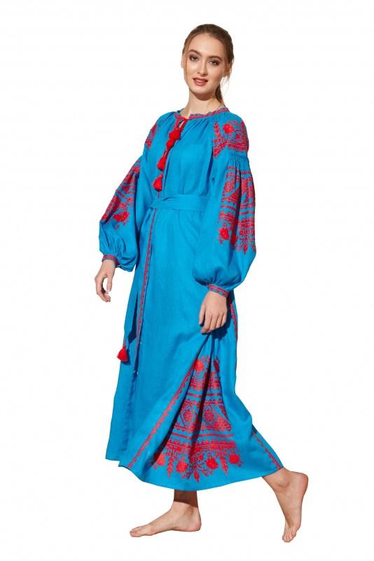 """Платье вышиванка голубая """"Сабина"""" Голубой 100% высококачественный л BAZENA - фото 1"""