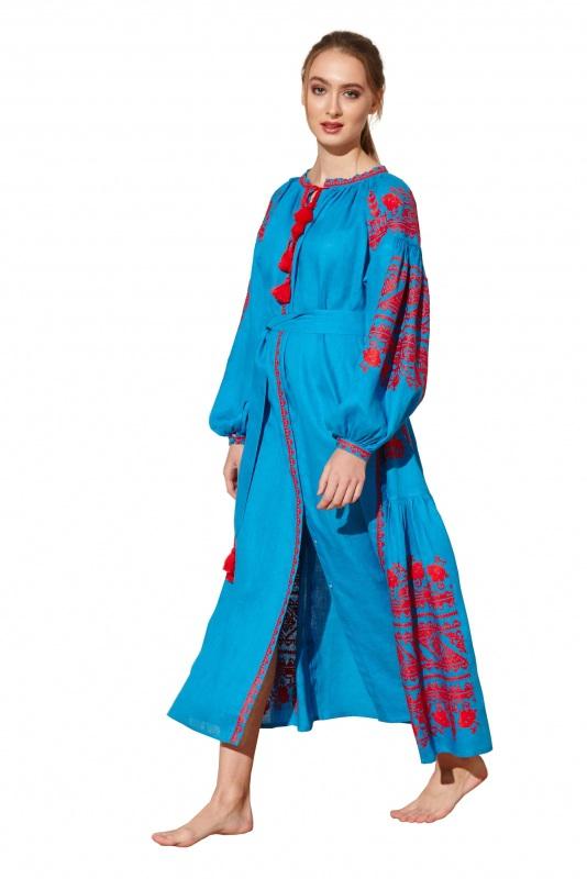 """Платье вышиванка голубая """"Сабина"""" Голубой 100% высококачественный л BAZENA - фото 3"""