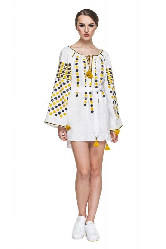 """Платье-вышиванка """"Бажена"""" Белый 100% высококачественный л BAZENA - фото 1"""
