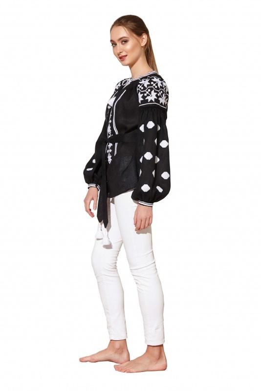 """Блуза вишиванка """"Берегиня"""" Черный 100% высококачественный л BAZENA - фото 3"""