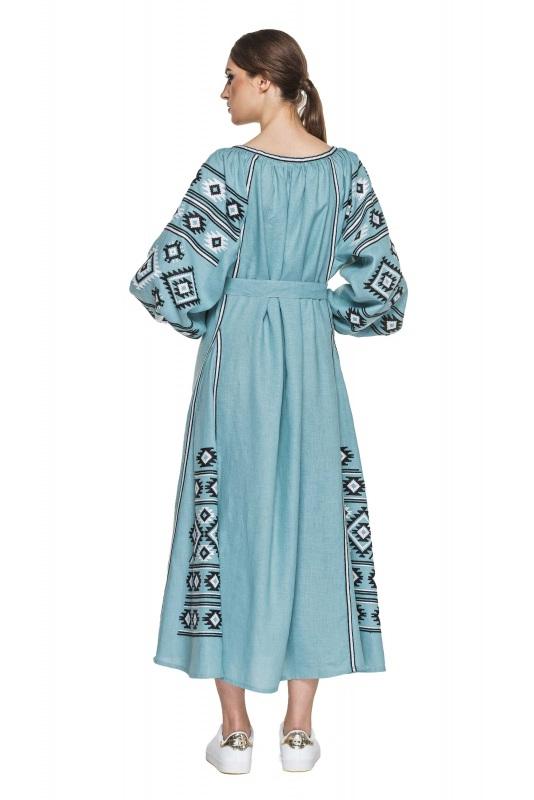 """Платье вышиванка серо-голубая """"Карпаты"""" Голубой 100% высококачественный л BAZENA - фото 3"""