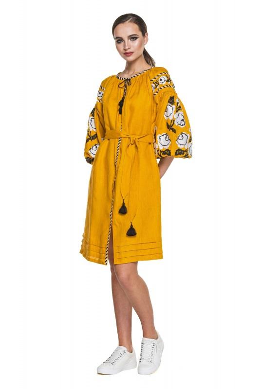 """Платье-вышиванка """"Бажена"""" Желтый 100% высококачественный л BAZENA - фото 1"""