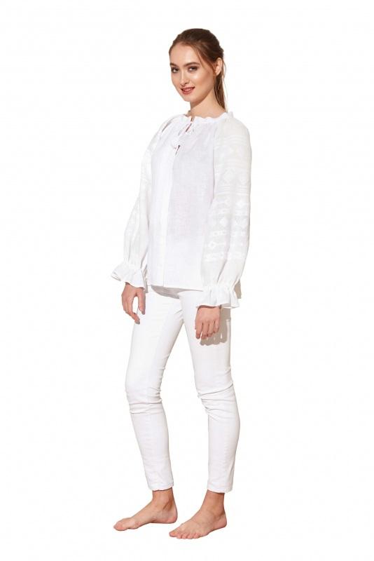 """Блуза вышиванка белая """"Однотонная"""" Белый 100% высококачественный л BAZENA - фото 2"""
