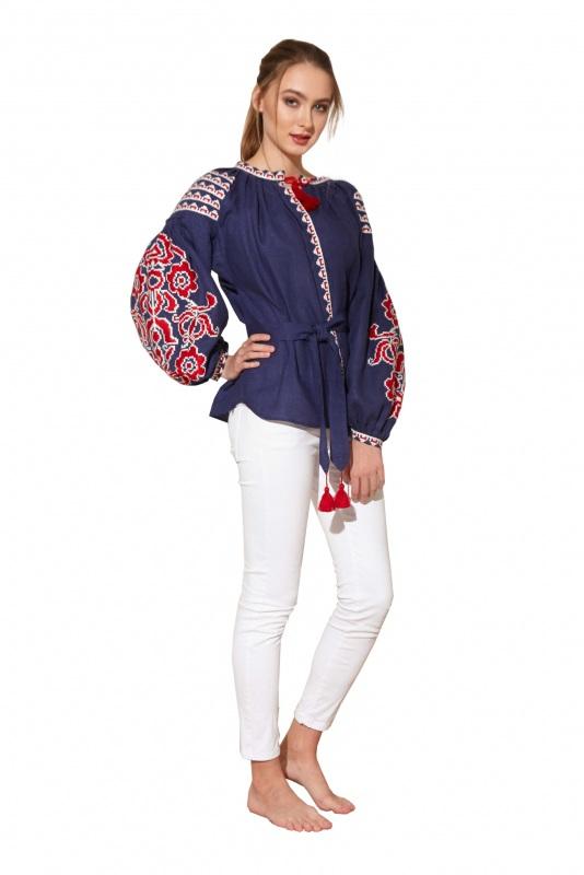 """Блуза вышиванка """"Бажена"""" Синий 100% высококачественный л BAZENA - фото 1"""