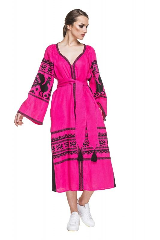 """Платье вышиванка малиновая """"Жар-птица"""" Розовый 100% высококачественный л BAZENA - фото 1"""