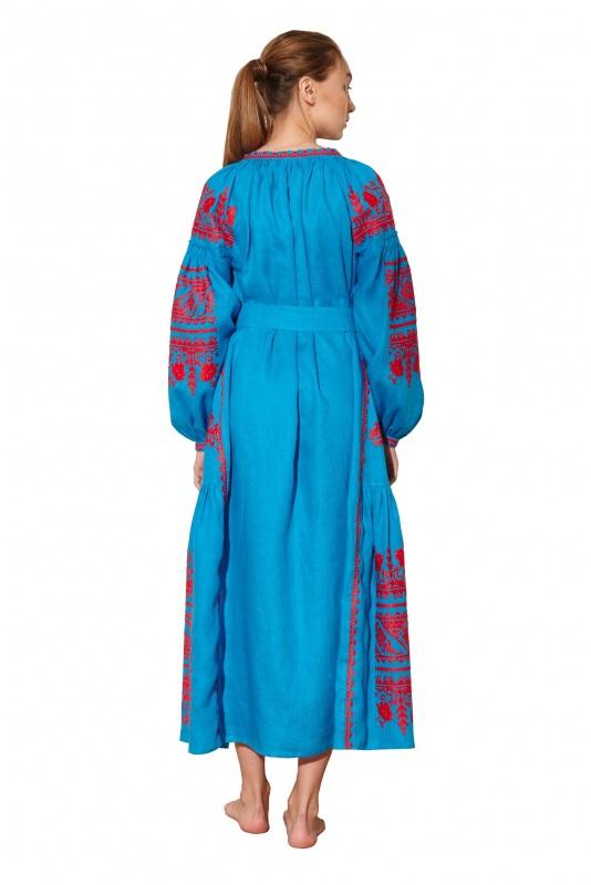 """Платье вышиванка голубая """"Сабина"""" Голубой 100% высококачественный л BAZENA - фото 2"""