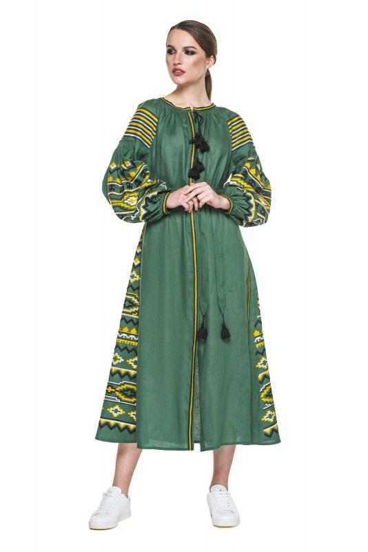 """Платье вышиванка зеленая """"Бесконечность"""" Зеленый 100% высококачественный л BAZENA - фото 1"""