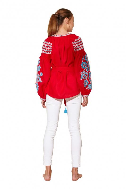 """Блуза вышиванка """"Бажена"""" Красный 100% высококачественный л BAZENA - фото 2"""