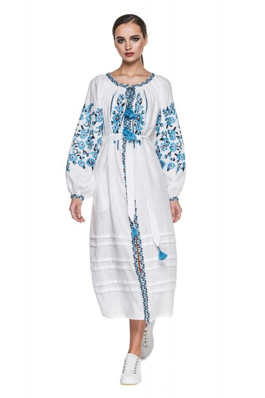 """Платье вышиванка белая """"Флора"""" Белый 100% высококачественный л BAZENA - фото 1"""