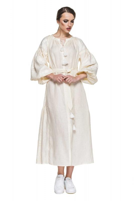"""Платье вышиванка молочная """"Сабина"""" Белый 100% высококачественный л BAZENA - фото 1"""