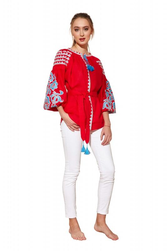 """Блуза вышиванка """"Бажена"""" Красный 100% высококачественный л BAZENA - фото 1"""