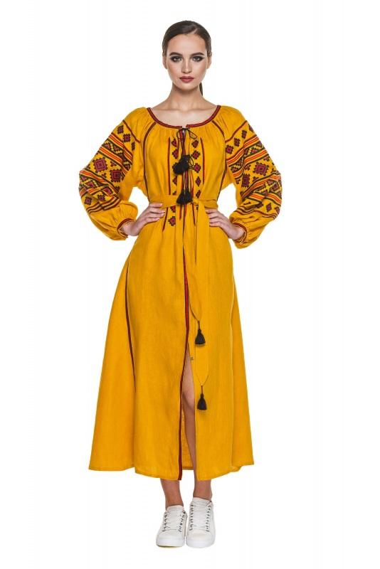 """Платье вышиванка горчичное """"Геометрия"""" Желтый 100% высококачественный л BAZENA - фото 1"""
