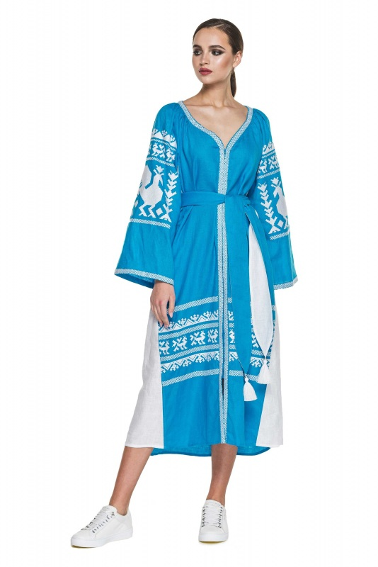 """Платье вышиванка голубая """"Жар-птица"""" Голубой 100% высококачественный л BAZENA - фото 1"""