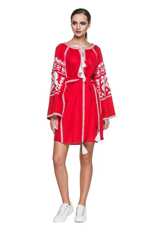 """Платье вышиванка красная """"Жар-птица"""" Красный 100% высококачественный л BAZENA - фото 1"""
