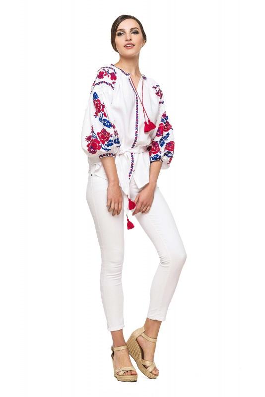 """Блуза вышиванка """"Маричка"""" Белый 100% высококачественный л BAZENA - фото 1"""