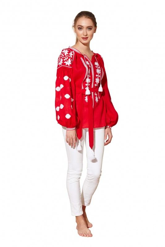 """Блуза вышиванка """"Геометрия"""" Красный 100% высококачественный л BAZENA - фото 2"""