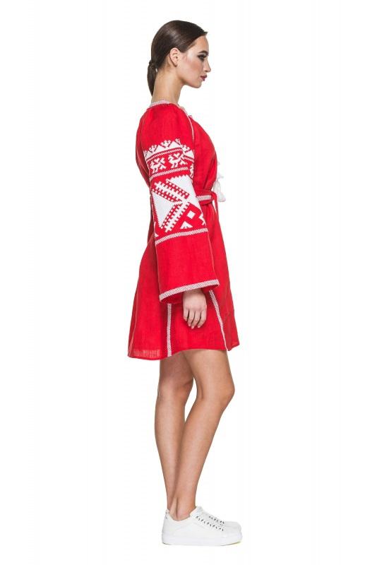 """Платье вышиванка красная """"Жар-птица"""" Красный 100% высококачественный л BAZENA - фото 3"""