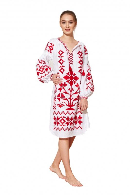 """Туника вышиванка белая """"Дерево Жизни"""" Белый 100% высококачественный л BAZENA - фото 1"""