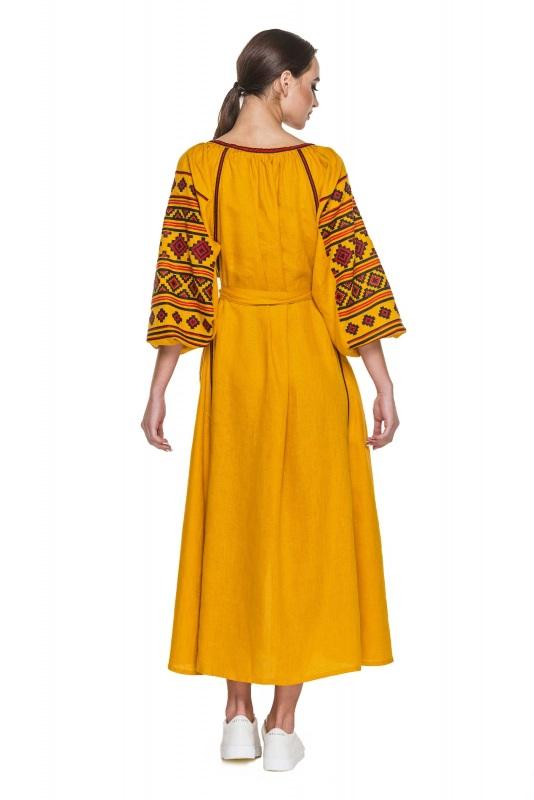 """Платье вышиванка горчичное """"Геометрия"""" Желтый 100% высококачественный л BAZENA - фото 2"""