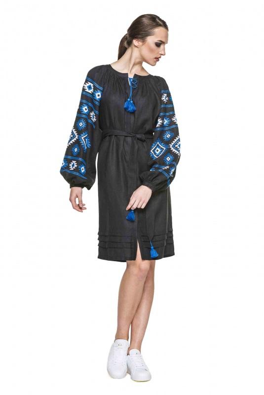"""Платье вышиванка черная """"Карпаты"""" Черный 100% высококачественный л BAZENA - фото 1"""