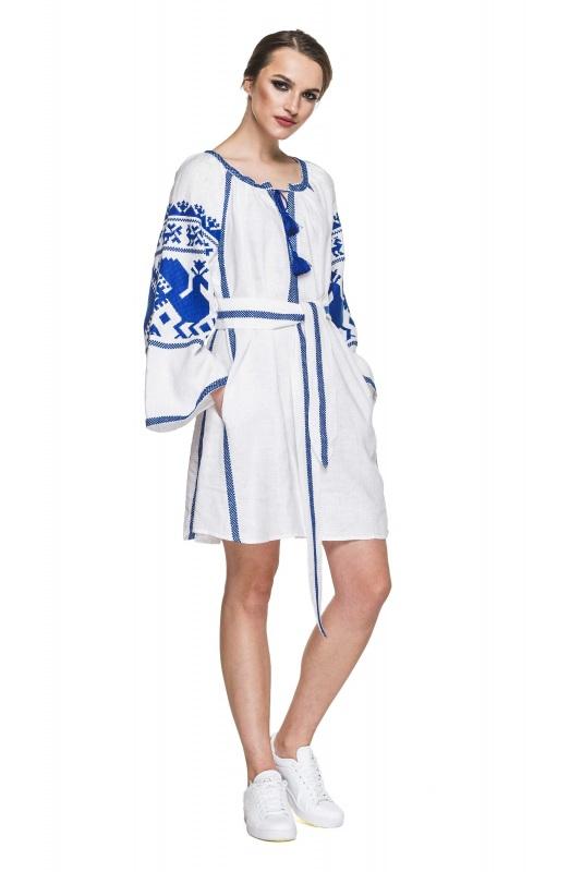 """Платье вышиванка белая """"Жар-птица"""" Белый 100% высококачественный л BAZENA - фото 1"""