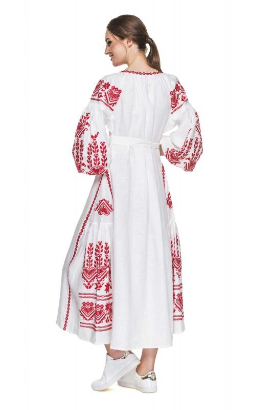 """Платье вышиванка белая """"Агния"""" Белый 100% высококачественный л BAZENA - фото 3"""