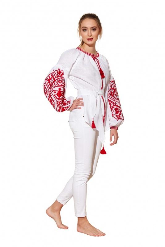 """Блуза вышиванка """"Дерево рода"""" Белый 100% высококачественный л BAZENA - фото 1"""