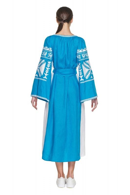 """Платье вышиванка голубая """"Жар-птица"""" Голубой 100% высококачественный л BAZENA - фото 3"""