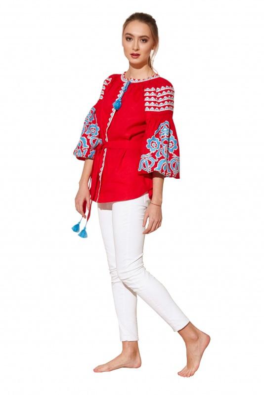 """Блуза вышиванка """"Бажена"""" Красный 100% высококачественный л BAZENA - фото 3"""