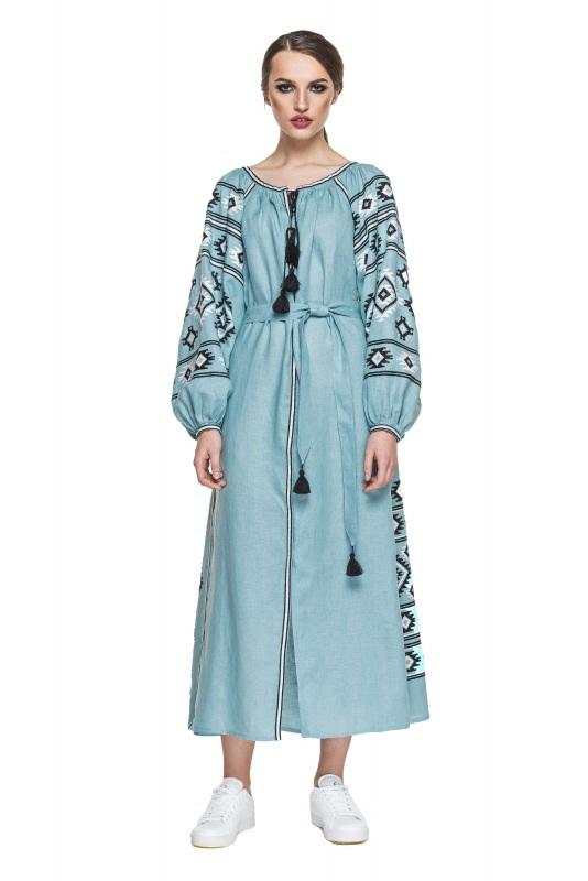 """Платье вышиванка серо-голубая """"Карпаты"""" Голубой 100% высококачественный л BAZENA - фото 1"""