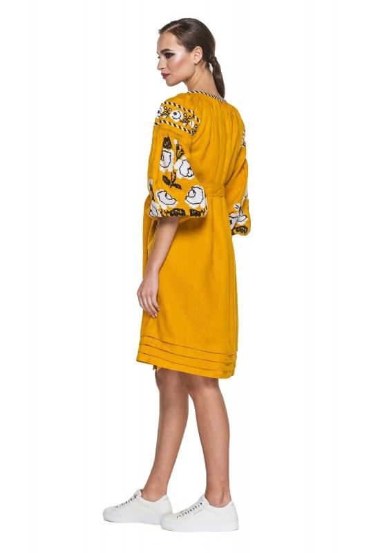 """Платье-вышиванка """"Бажена"""" Желтый 100% высококачественный л BAZENA - фото 3"""