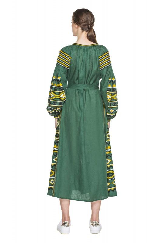 """Платье вышиванка зеленая """"Бесконечность"""" Зеленый 100% высококачественный л BAZENA - фото 2"""