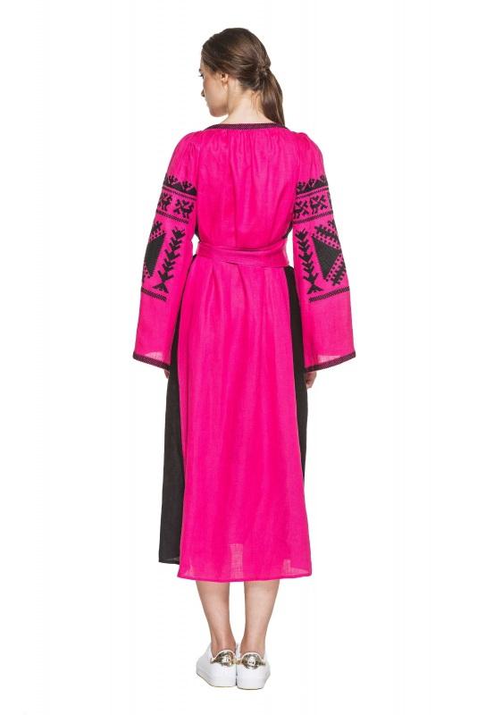 """Платье вышиванка малиновая """"Жар-птица"""" Розовый 100% высококачественный л BAZENA - фото 3"""