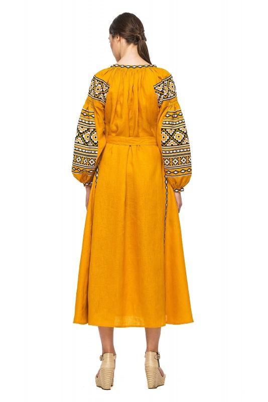 """Платье вышиванка горчичное """"Гармония"""" Желтый 100% высококачественный л BAZENA - фото 3"""