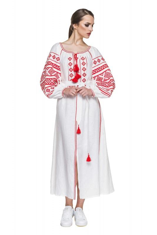 """Платье вышиванка белая """"Геометрия"""" Белый 100% высококачественный л BAZENA - фото 1"""