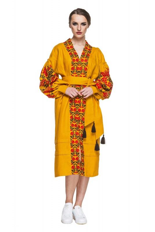 """Платье вышиванка горчичное """"Лилея"""" Желтый 100% высококачественный л BAZENA - фото 1"""