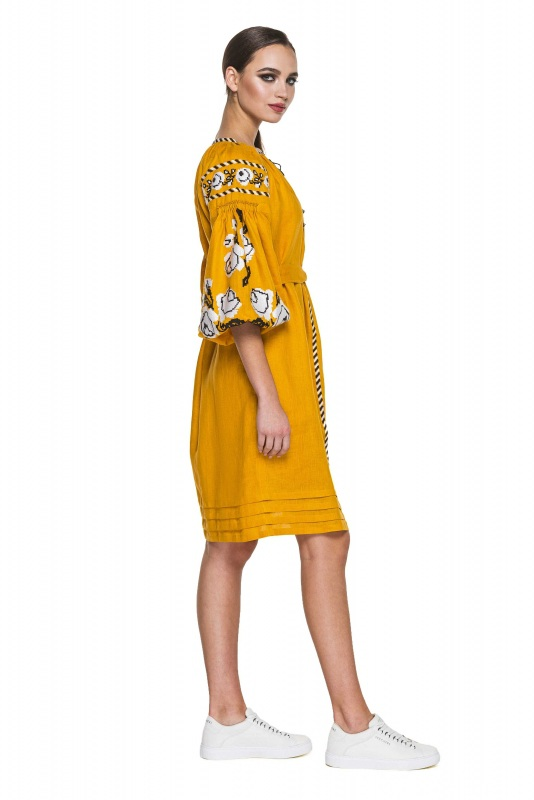"""Платье-вышиванка """"Бажена"""" Желтый 100% высококачественный л BAZENA - фото 2"""