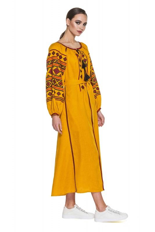 """Платье вышиванка горчичное """"Геометрия"""" Желтый 100% высококачественный л BAZENA - фото 3"""