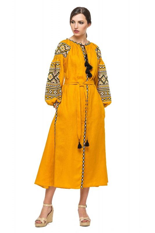 """Платье вышиванка горчичное """"Гармония"""" Желтый 100% высококачественный л BAZENA - фото 1"""