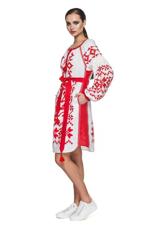 """Туника вышиванка белая с красными вставками """"Дерево Жизни"""" Белый 100% высококачественный л BAZENA - фото 2"""