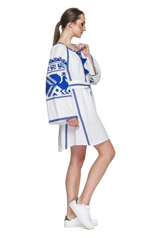 """Платье вышиванка белая """"Жар-птица"""" Белый 100% высококачественный л BAZENA - фото 2"""