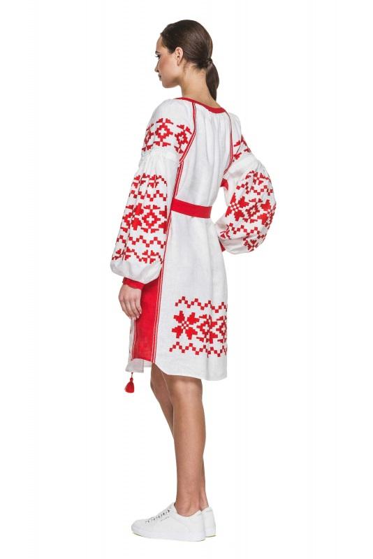 """Туника вышиванка белая с красными вставками """"Дерево Жизни"""" Белый 100% высококачественный л BAZENA - фото 3"""