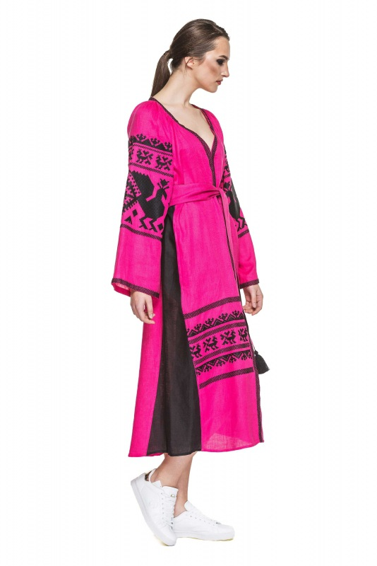 """Платье вышиванка малиновая """"Жар-птица"""" Розовый 100% высококачественный л BAZENA - фото 2"""